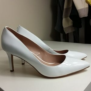 BCBG White Patent Leather Pumps